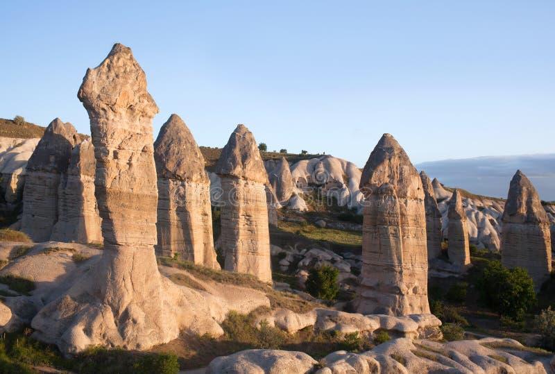 Formazioni geologiche uniche in Cappadocia, Turchia fotografia stock libera da diritti