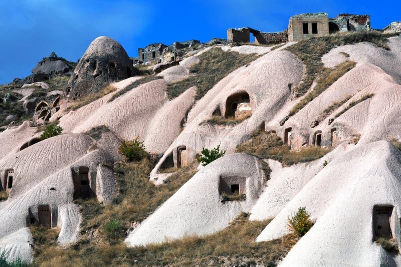 Formazioni geologiche uniche in Cappadocia, Turchia fotografia stock