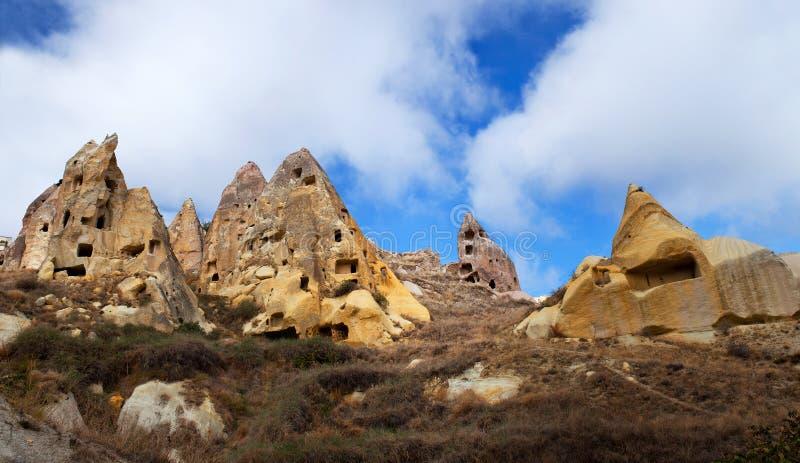 Formazioni geologiche uniche in Cappadocia, Turchia fotografie stock