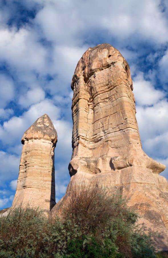 Formazioni geologiche uniche in Cappadocia, Turchia immagine stock libera da diritti