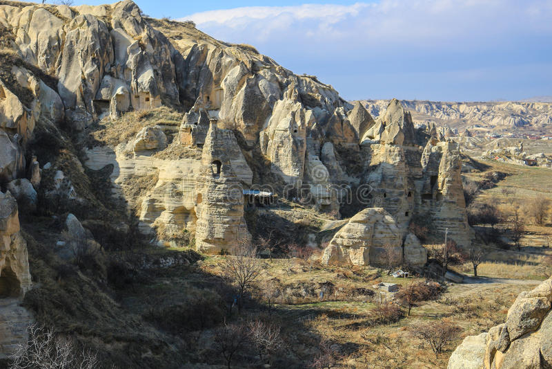 Formazioni rocciose a Cappadocia, l'Anatolia, Turchia immagini stock