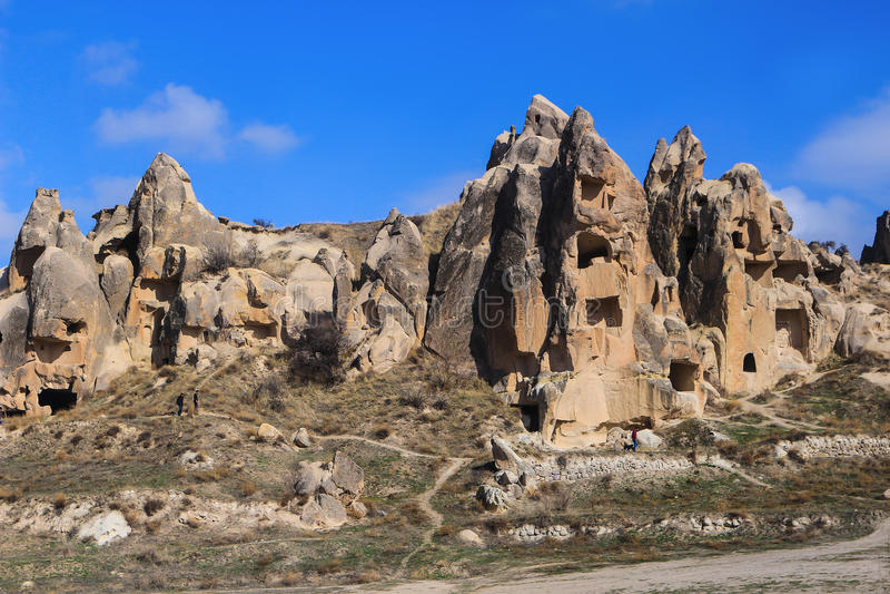 Formazioni rocciose a Cappadocia, l'Anatolia, Turchia immagine stock libera da diritti