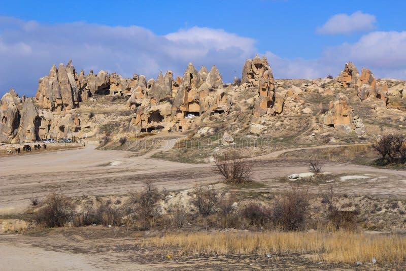 Formazioni rocciose a Cappadocia, l'Anatolia, Turchia immagine stock