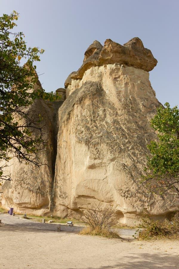 Formazioni rocciose di Cappadocia Turchia del museo dell'aria aperta di Goreme dei luoghi pubblici fotografie stock libere da diritti
