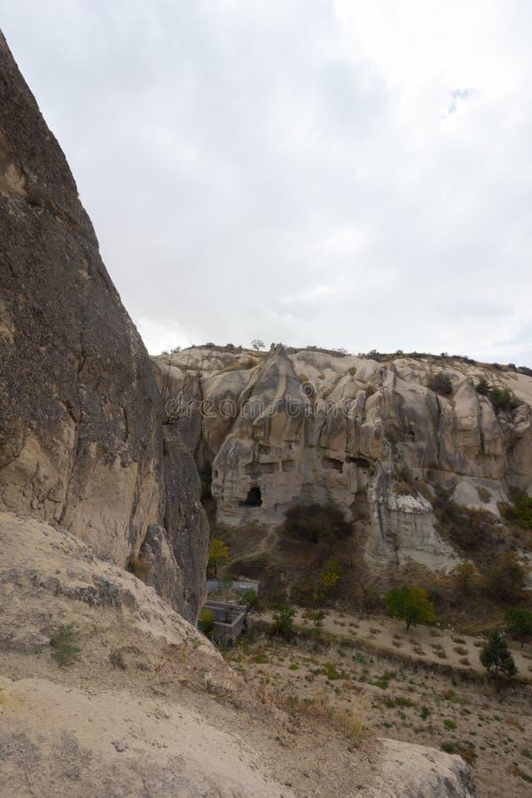 Formazioni rocciose di Cappadocia Turchia del museo dell'aria aperta di Goreme dei luoghi pubblici fotografia stock libera da diritti