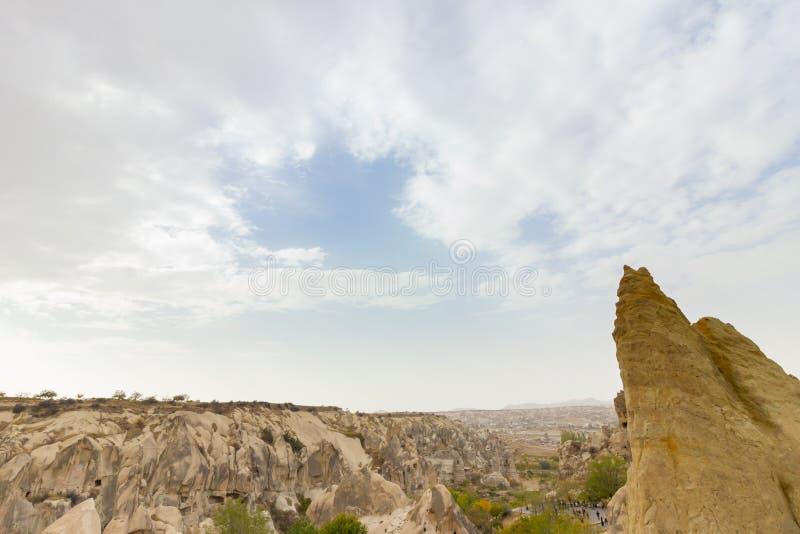 Formazioni rocciose di Cappadocia Turchia del museo dell'aria aperta di Goreme dei luoghi pubblici immagine stock libera da diritti