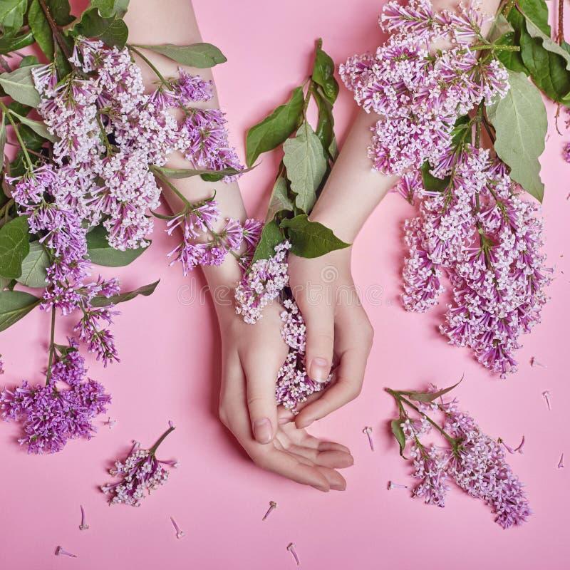 Forme às mãos da arte as mulheres naturais dos cosméticos, flores lilás roxas brilhantes à disposição com composição brilhante do fotografia de stock royalty free
