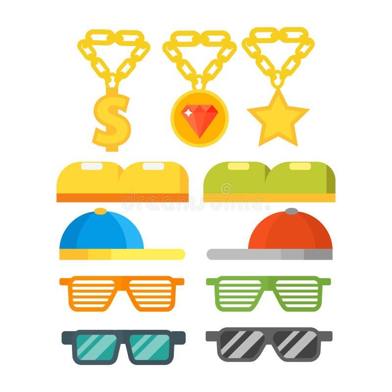 Forme a óculos de sol da joia do ouro o vintage acessório retro ilustração plástica do vetor dos monóculos do quadro ilustração royalty free