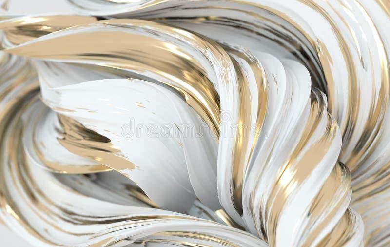 Forme abstraite à torsion dynamique blanche et dorée. Vawe de rendu 3d, spirale. Illustration géométrique générée par l'ord illustration de vecteur