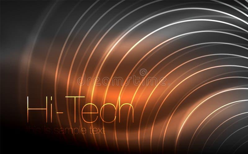 Forme al neon d'ardore circolari, fondo techno Cerchi trasparenti brillanti astratti sullo spazio scuro di tecnologia illustrazione vettoriale
