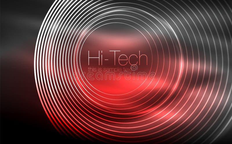 Forme al neon d'ardore circolari, fondo techno Cerchi trasparenti brillanti astratti sullo spazio scuro di tecnologia royalty illustrazione gratis