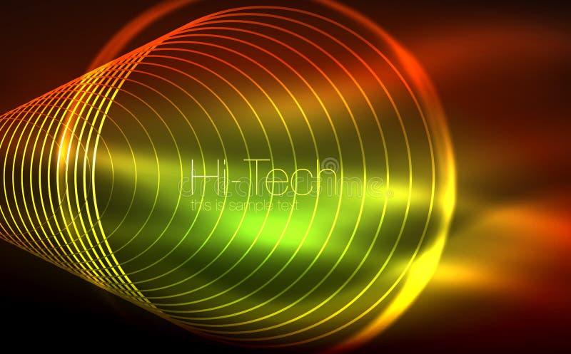 Forme al neon d'ardore circolari, fondo techno Cerchi trasparenti brillanti astratti sullo spazio scuro di tecnologia illustrazione di stock