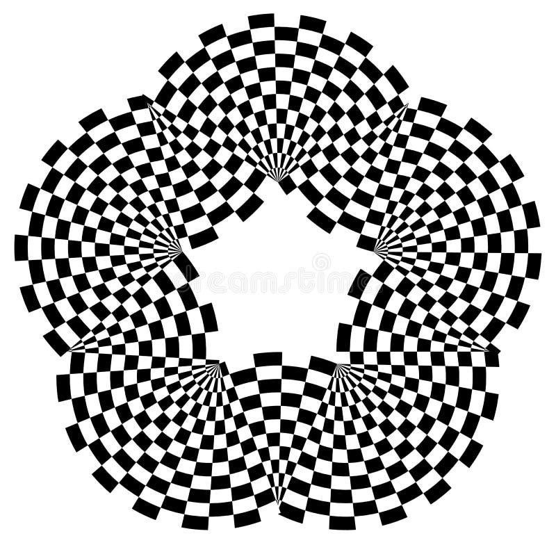 Forme arrondie avec le motif de remplissage à carreaux Résumé Contrasty GR illustration stock