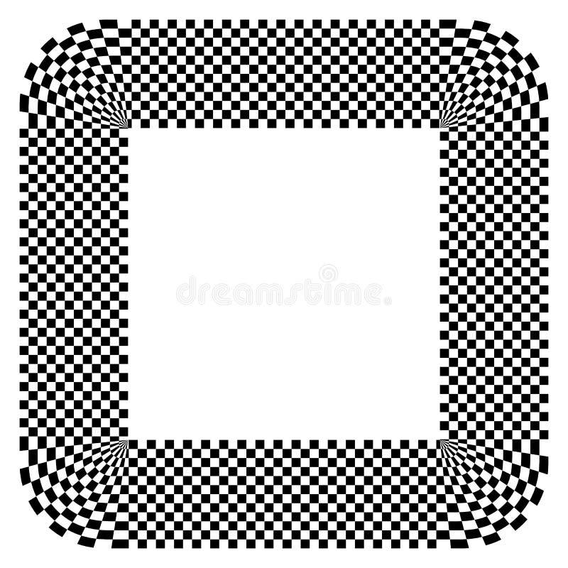 Forme arrondie avec le motif de remplissage à carreaux Résumé Contrasty GR illustration de vecteur