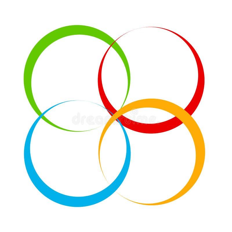 Forme avec le motif de recouvrement de cercles Cercle de intersection géométrique illustration de vecteur