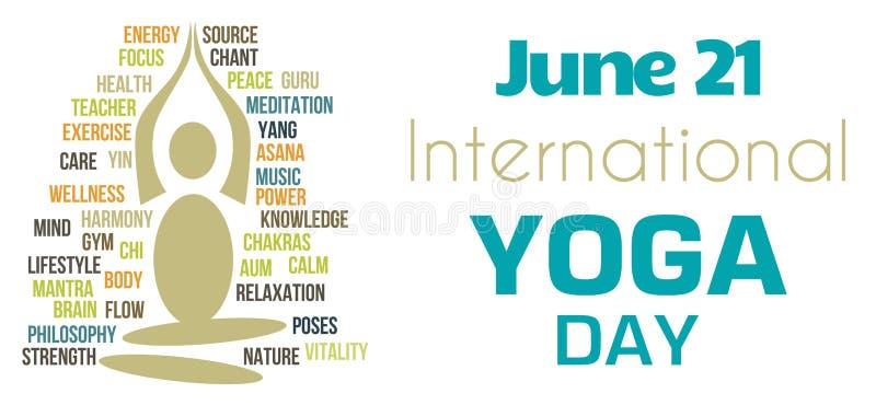 Forme blanche de Tagcloud de jour de yoga illustration de vecteur