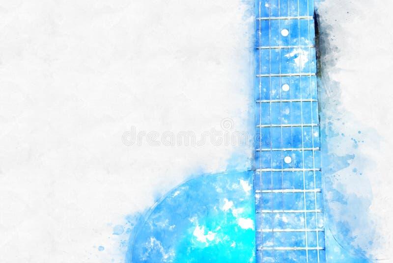 Forme bleue abstraite de couleur sur la guitare acoustique à l'arrière-plan de peinture d'aquarelle de premier plan illustration libre de droits