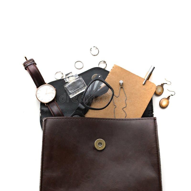 Forme a bolsa da mulher, a composição e os acessórios, vista superior, la liso imagem de stock royalty free