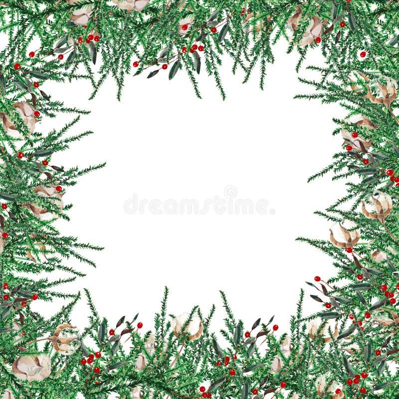 Forme carrée de cadre de Noël d'aquarelle Calibre des branches de sapin, buis, baies rouges sur un fond blanc illustration de vecteur