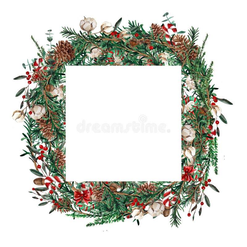 Forme carrée de cadre de Noël d'aquarelle Calibre des branches de sapin, buis, baies rouges sur un fond blanc illustration stock