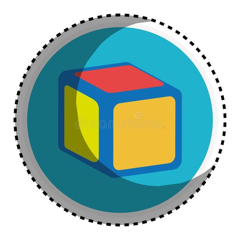 Forme circulaire d'autocollant avec le cube en jouet illustration libre de droits