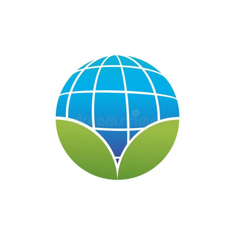 forme circulaire de la terre de planète ou de globe bleue avec deux feuilles vertes, icône abstraite de logo, écologie connexe Il illustration stock
