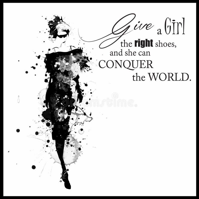 Forme citações com menina moderna em um vestido ilustração do vetor