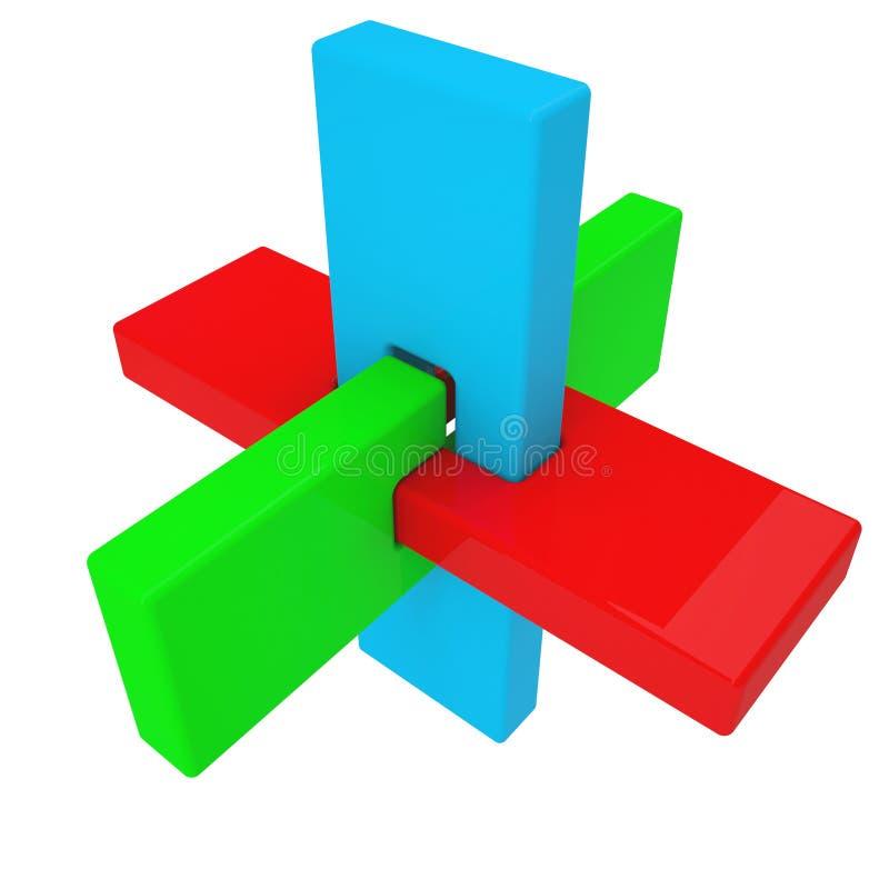 Forme colorée du résumé 3D illustration de vecteur