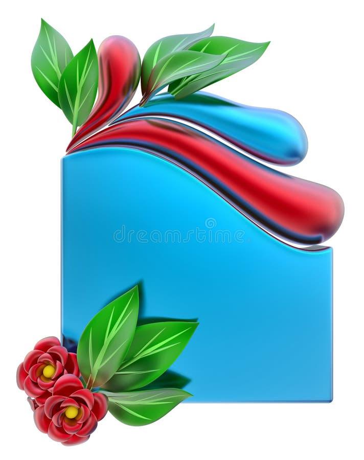 Forme com folhas e as flores vermelhas ilustração stock