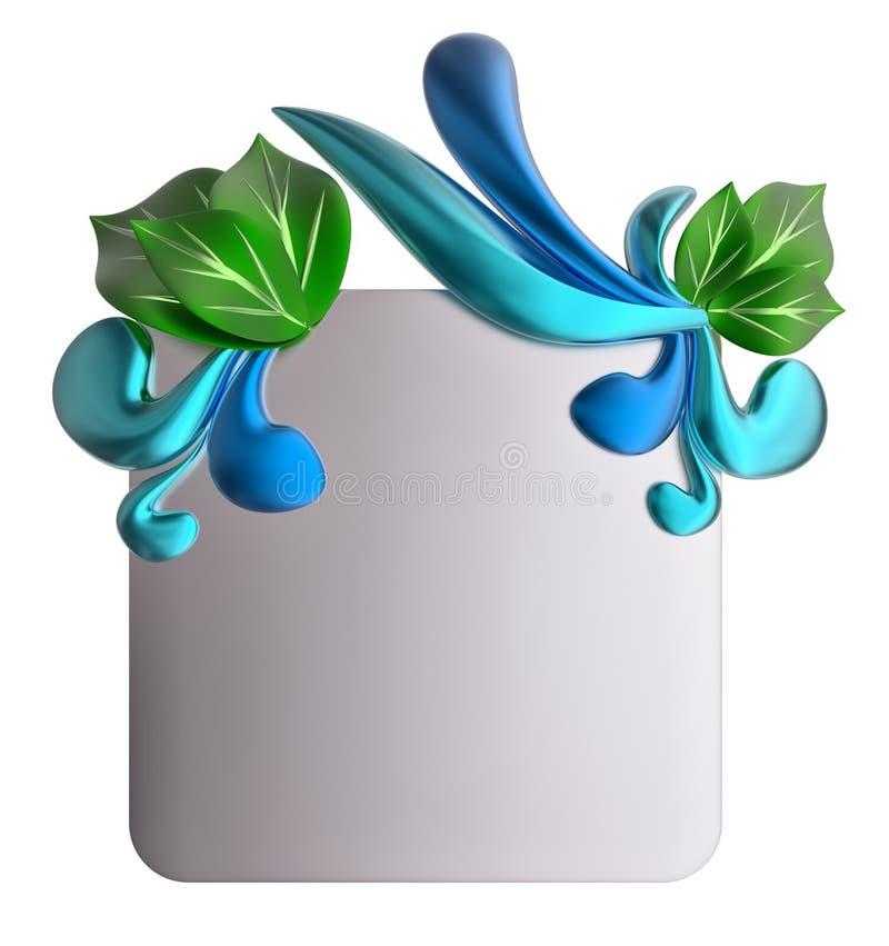 Forme com gotas e folhas da água ilustração royalty free