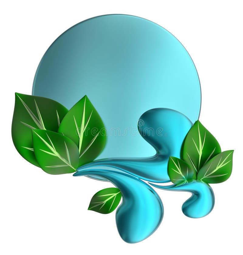 Forme com gotas e folhas da água ilustração stock