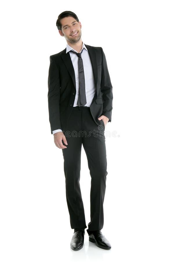 Forme a comprimento cheio o homem preto novo elegante do terno fotos de stock