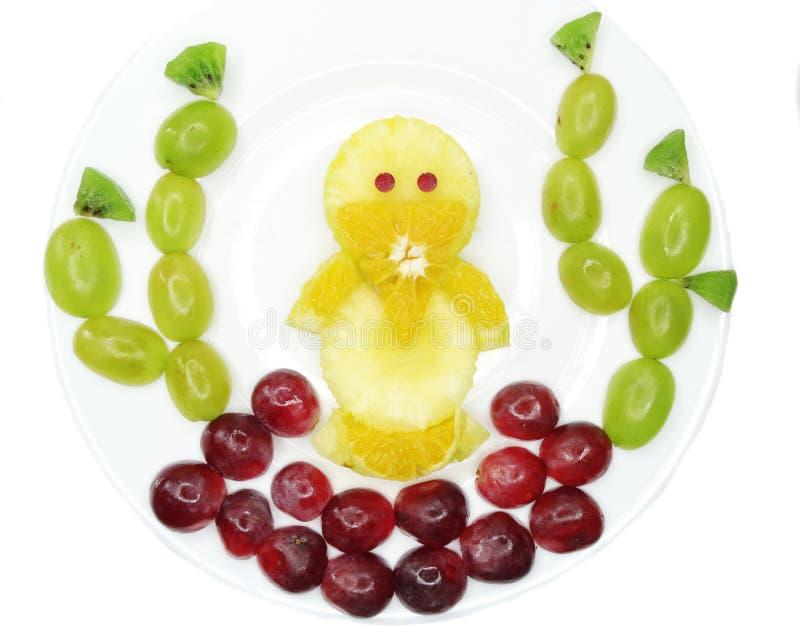 Forme créative d'oiseau de poussin de dessert d'enfant de fruit image stock