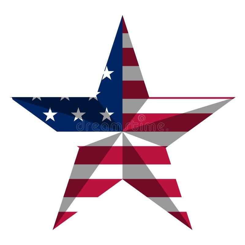 Forme d'étoile avec le drapeau américain illustration stock