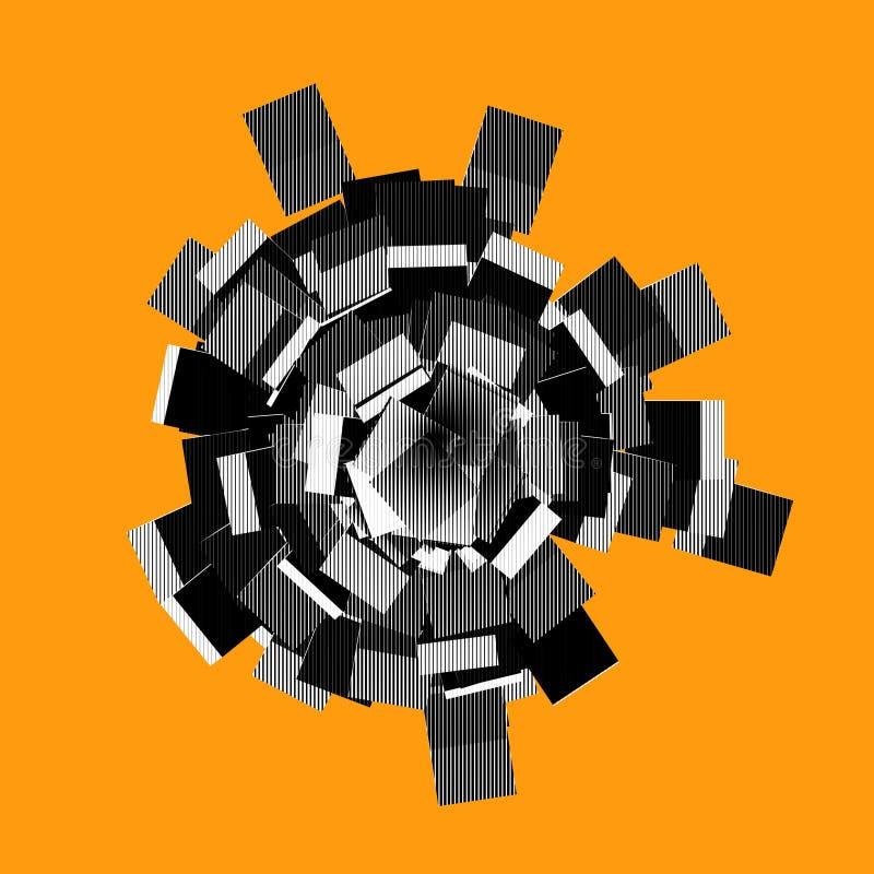 Forme 3d abstraite dans le modèle rayé sur l'orange illustration de vecteur