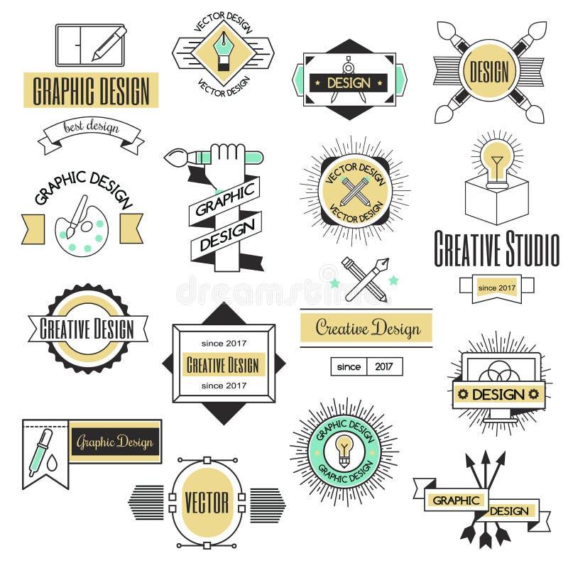 Forme d'affaires d'abrégé sur collection de décoration d'identité de société de logo de conception de l'industrie graphique et We illustration libre de droits