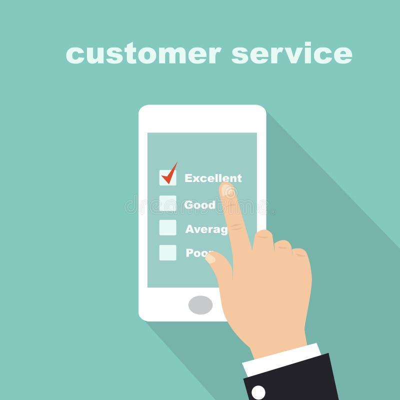 Forme d'enquête de service client sur le mobile d'écran illustration libre de droits