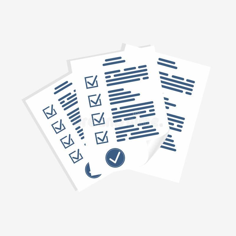 Forme d'enquête, feuilles de papier Forme d'examen, liste de contrôle pour la forme d'évaluation, de questionnaire ou de jeu-conc illustration de vecteur