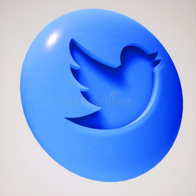 forme d'ic?ne de bouton de 3D Twitter illustration stock