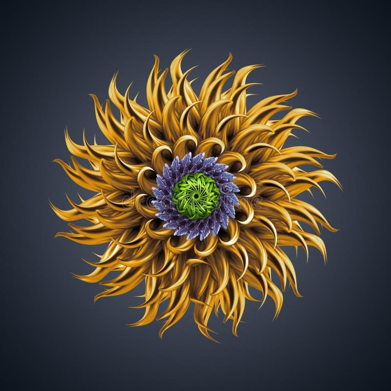 forme organique abstraite d'étoile de cactus de la fleur 3d illustration stock