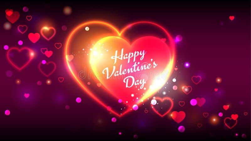 Forme d'or rouge lumineuse heureuse de coeur de cartes de voeux de vecteur de jour de valentines sur un fond de scintillement mag illustration stock