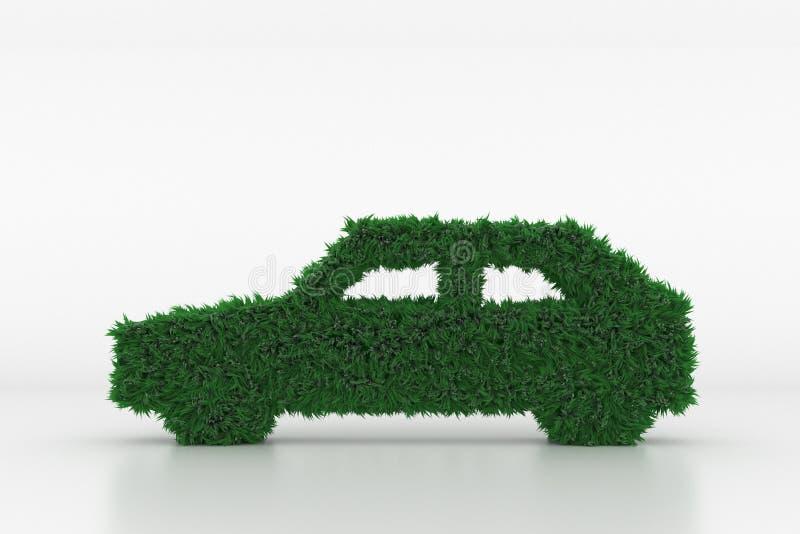 Forme d'une voiture avec l'herbe verte illustration stock