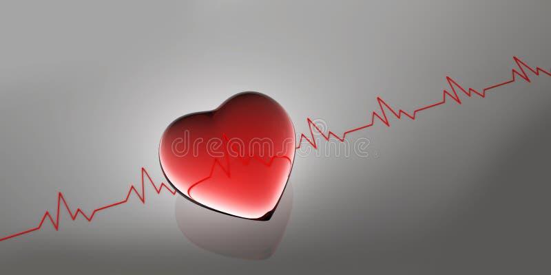 Forme de battement de coeur en tant qu'illustration du fond médical 3d illustration de vecteur