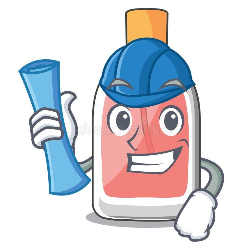 Forme de botlle de parfum d'architecte sur la bande dessinée illustration stock