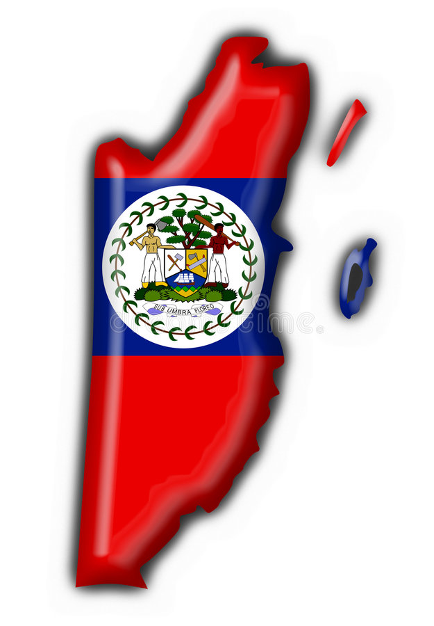 Forme De Carte D Indicateur De Bouton De Belize Photo libre de droits