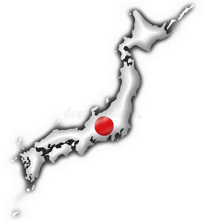 forme de carte du Japon d'indicateur de bouton illustration stock