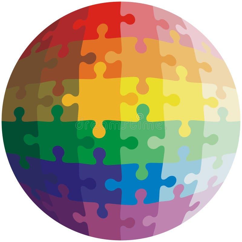 Forme de casse-tête d'une boule, arc-en-ciel de couleurs illustration libre de droits