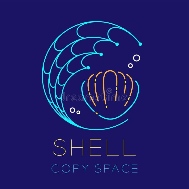 Forme de cercle de mollusques et crustacés, de filet de pêche et icône de logo de bulle d'air illustration stock