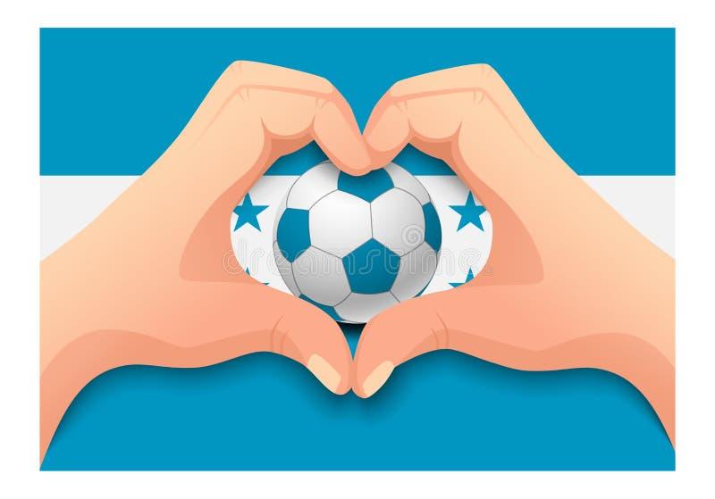 Forme de coeur de ballon de football et de main du Honduras illustration libre de droits