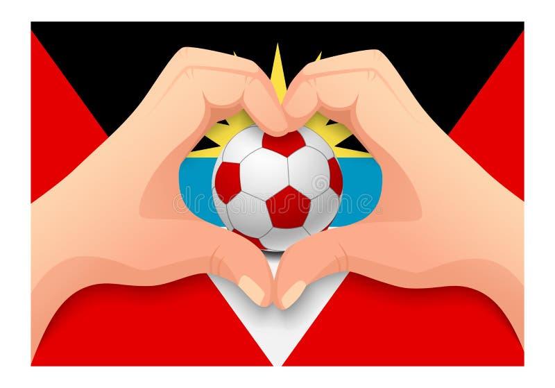 Forme de coeur de ballon de football et de main de l'Antigua-et-Barbuda illustration stock